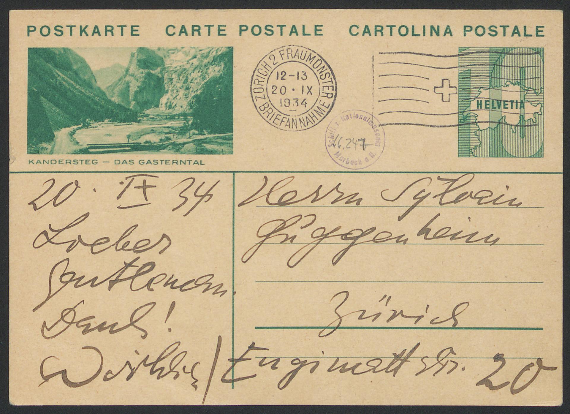 Postcard to Silvain Guggenheim