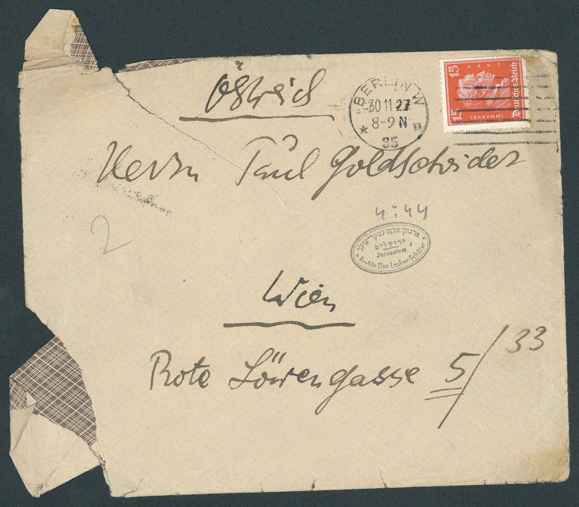 Letter to Paul Goldscheider (envelope)