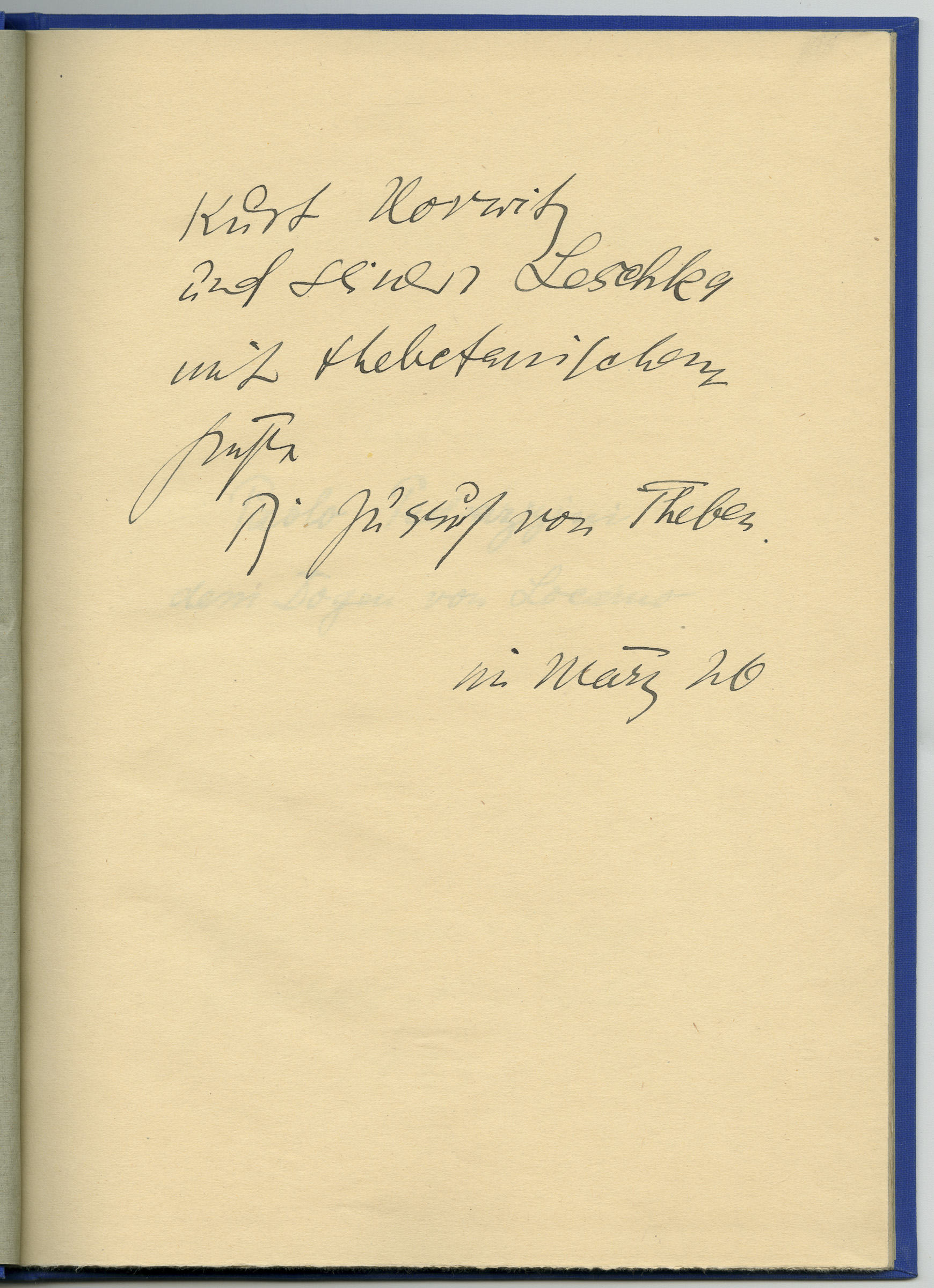 »The Bond of Wild Jews« from Thebes. Poems and Lithographs (dedication)