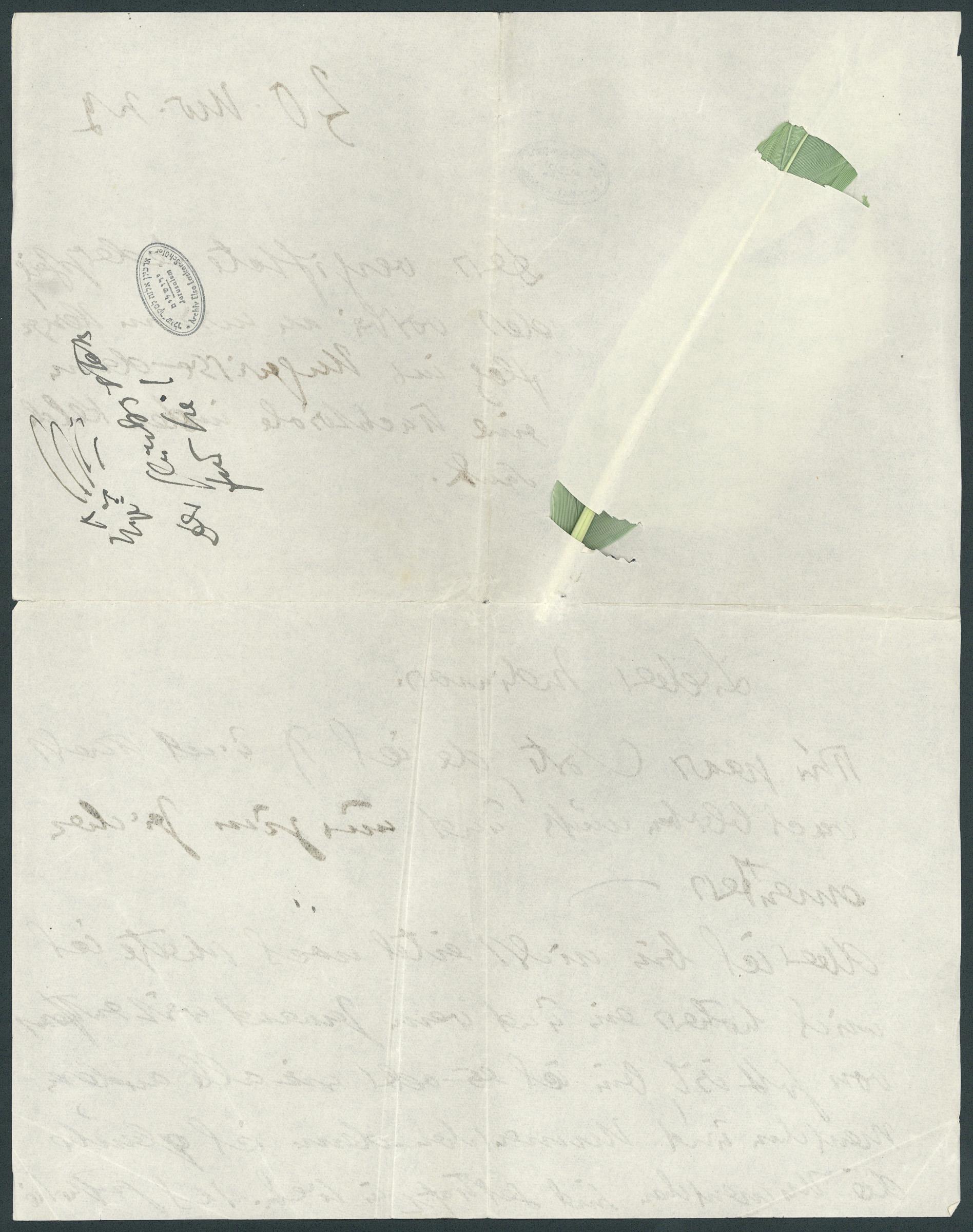 Letter to Paul Goldscheider (p. 2)